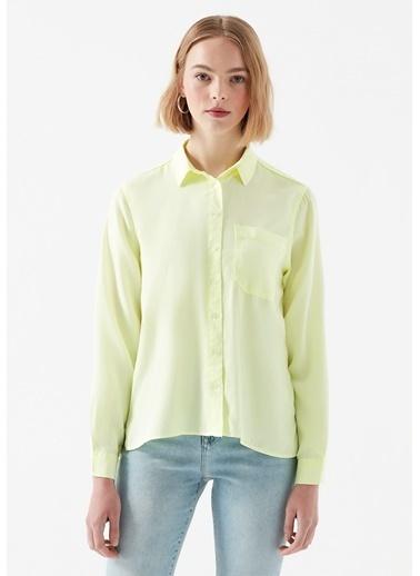 Mavi  Lyocell Gömlek Sarı